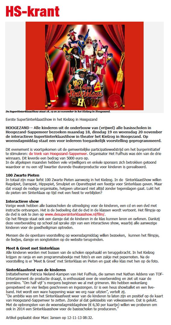 HS krant 12-11-2013